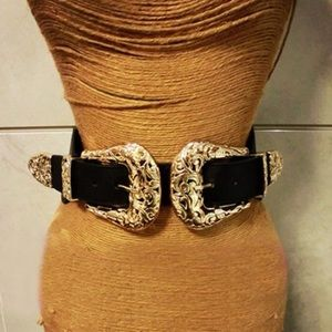 Accessories - DAY SALE!! Gold & Black Leather Double Belt
